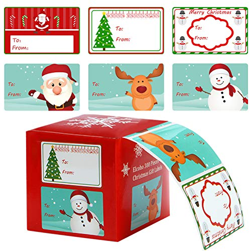 Elcoho 300 Pieces Christmas Self Adhesive Gift Tag Self Stick Stickers Gift Name Tag Christmas Stickers with 6 Different Designs (Color B)