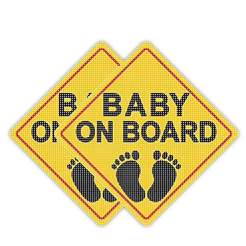 Besby 2pcs Baby On Board Sticker Sign, 5'x5' Kid Safety Caution Decal, Bright Yellow Vinyl, See-Through When Reversing, for Car Window Bumper Stickers.