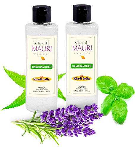 Khadi Mauri Herbal Hand Sanitiser - Enriched with Neem, Basil & Lavender Extracts - Combo Pack of 2-210 ml Each