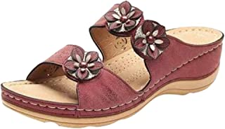 Sandales Femmes Appartements Bout Ouvert Bas épais Chaussures Confortables Compensées Pantoufles