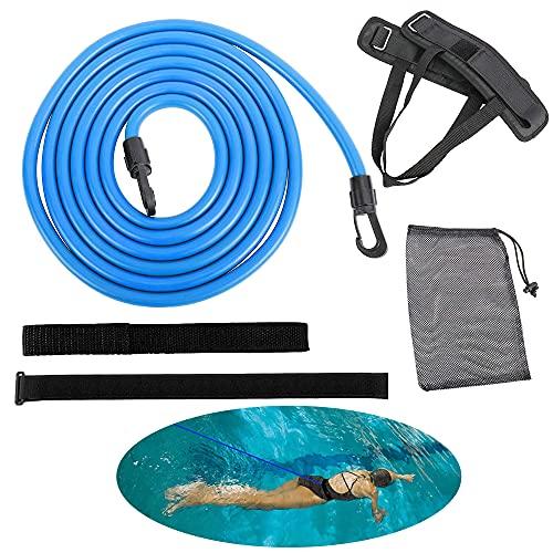 Elastico Piscina Nuoto,Piscina Regolabile Cintura da Allenamento,Cintura di Resistenza Nuoto Elastico,Cintura Resistenza per Nuoto,Cintura da Nuoto.