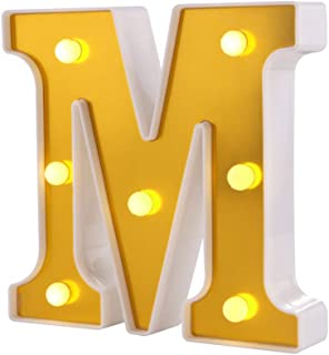 Samapet M Decorative Led Light Up Number Letters, White Plastic Marquee Number Lights Sign Party Wedding Decor Battery Operated (M)