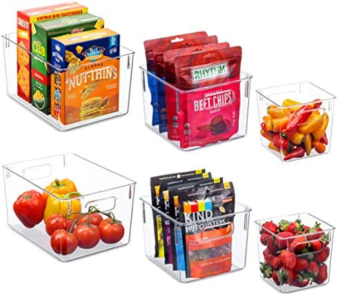 Set Of 6 Clear Pantry Organizer Bins Household Plastic Food Storage Basket with Cutout Handles product image