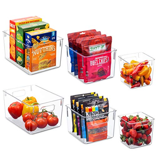 Set Of 6 Clear Pantry Organizer Bins Household Plastic Food Storage Basket with Cutout Handles for Kitchen Countertops Cabinets Refrigerator Freezer Bedrooms Bathrooms