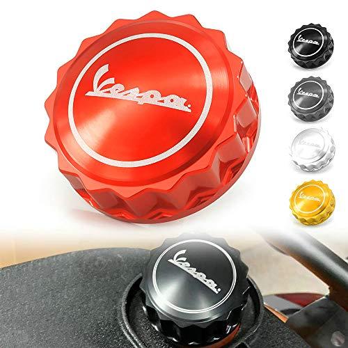 QIDIAN-Cubierta de Tapa de Aceite de llenado de Tanque de Combustible de Motocicleta para Vespa Piaggio Primavera Sprint GTS GTV LX 125 250 300 150 300ie Accesorios (Red)