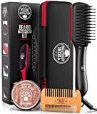 Beard Straightener for Men - Fast Heating Ceramic and Ionic Mens Beard Straightener Comb - Heated Beard Brush - Includes Wooden Beard Comb & Beard Balm with Sandalwood Scent