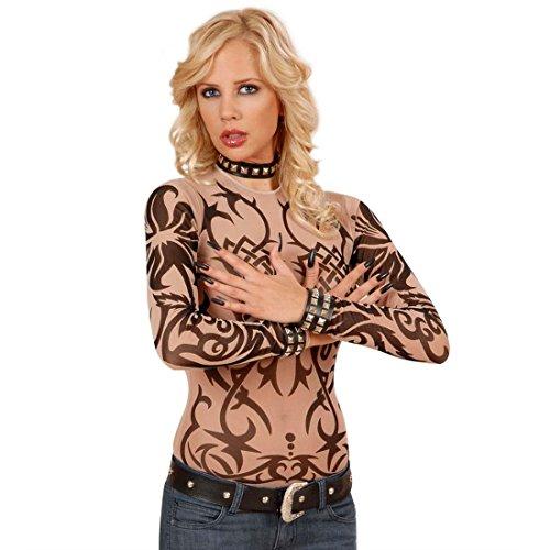 NET TOYS Damen Tattoo Shirt Sleeve Tribal Shirt Tattooshirt Tribalshirt Oberteil Damenoberteil Damenshirt Kostüm Zubehör Fasnet Fasnacht