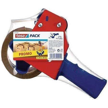 Tesa PACK Lot Dérouleur + Ruban d'Emballage – Ruban Adhésif d'Emballage avec Support en Polypropylène – Résistant aux UV – Rouleau Marron – 50 m x 48 mm