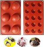 Cevikno Molde de silicona para chocolate, 2 paquetes de moldes para tartas, gelatina, pudín, jabón hecho a mano, mousse cúpula, forma redonda, 6 cavidades y 15 cavidades