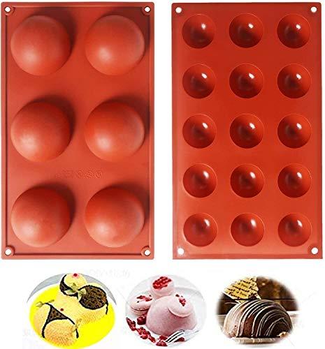 2 pièces Moule Forme Demi Sphères 6/15 Cavités Silicone Outil de Cuisson pour Vos Desserts au Chocolat, Bombes à la crème glacée, Mini Teacake, Bonbons, Biscuit, Gommeux, Jello