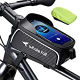 Bike Bag Bike Phone Mount Bike Accessories for 7' Cellphone, Waterproof Phone Holder for Bike Frame, Bicycle Bag Top Tube Phone Bag Bicycle Accessories, Thickening Eva Cycling Pouch, with Rain Cover