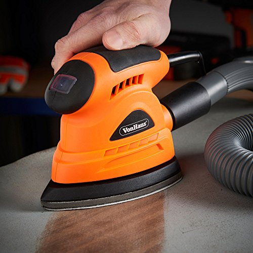 VonHaus 130W Palm Compact Detail Sander with Dust Extraction Port - Compact Ergonomic Design for Hand - Multi Use