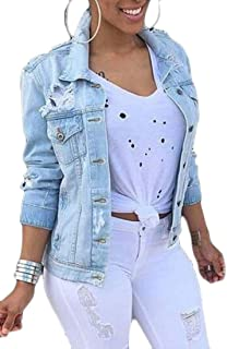 Yeirui Women Loose Fit Ripped Casual Down Button Distressed Denim Jacket Coat