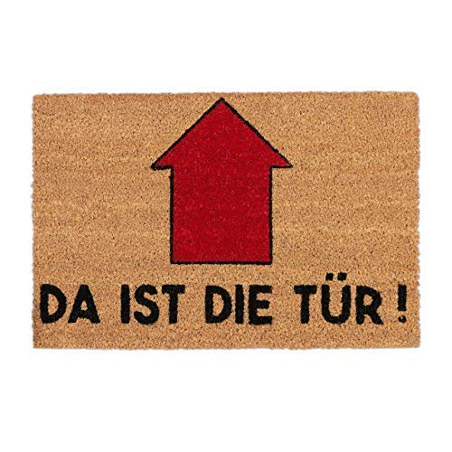 Relaxdays Fußmatte mit Spruch, Da ist die Tür, Pfeil, Eingangsbereich, Garten, Schmutzfang Türvorleger 60x40, Natur/rot, Standard