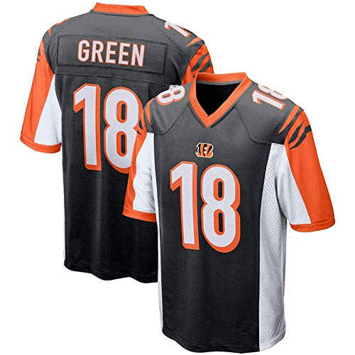 TTATT Camiseta De Fútbol De La NFL para Hombre Cincinnati Bengals 18# A.J. Green Camiseta De Fútbol Jersey De Manga Corta NFL Sport Top Jersey