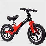 Bicicleta sin Pedales Ultraligera 2-6 años sillín Ajustable 12 Pulgadas,Black-Red,12
