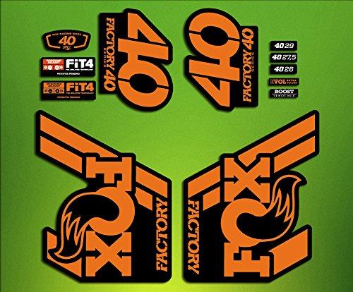 Autocollants Stickers Fox 40 2018 ELX78 pour fourche de vélo., orange