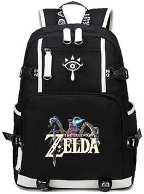 Unisex Anime Backpack Legend of Zelda Printed School Bag Laptop Bag Travel Camping Daypack,A