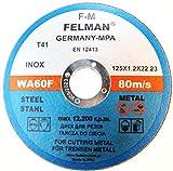 10 discos de corte de acero inoxidable para acero, metal, acero inoxidable, 125 x 1,2 x 22,23 mm, T41 A60 RBF Felman