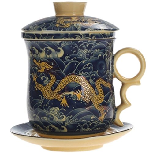 BandTie Convenient Travel Office Loose Leaf Tea Brewing System-Chinese Jingdezhen Blue and White Porcelain Tea Cup Infuser 5-Piece Set with Tea Cup Lid and Saucer (Dragon Pattern)