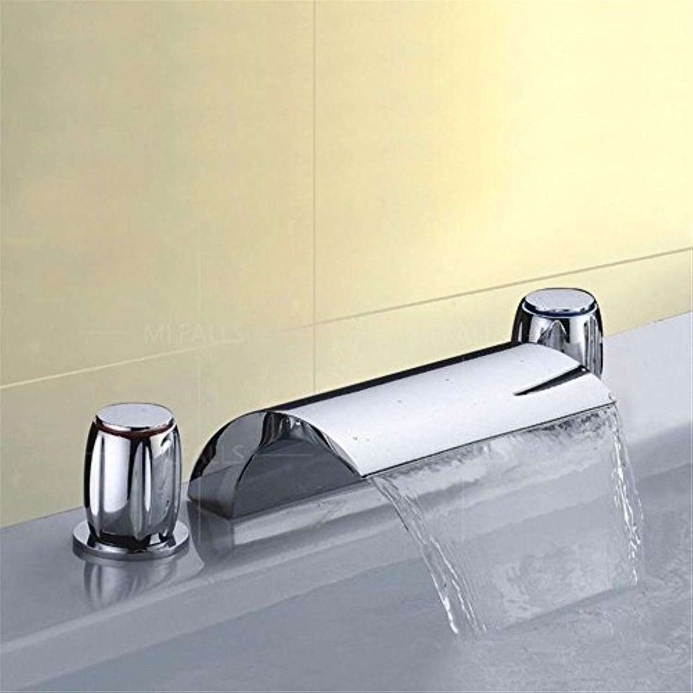 Wasserhhne Warmes und kaltes Wasser groe Qualitt Moderne Silber Messing verchromt mit Doppelgriff drei Loch Keramik Ventil fllt aus dem Wasser und kaltes Wasser, Badezimmer 3-Teilig