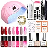 Modelones Gel Polish Kit with 48W UV light - Red Pink Series 7 Colors Gel Nail Starter Kit with UV LED Nail Lamp, Home Manicure Tools, No Wipe Top and Base Coat, Nail Studs Decorations