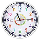 Wall Clock for Kids with Silent Non Ticking Sweep Quartz Mechanism Easy to Read Learn to Tell Time 12 Inch Diameter