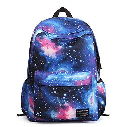 Minetom Colorato Universo Nebulosa Nylon Borsa Zainetto Donna Spalla Zaini Femminili Scuola Superiore Zainetti Bag Ragazze Blu One Size(42*37*17 Cm)