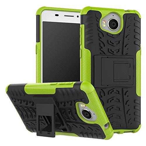 SMTR Huawei Y5 III / Huawei Nova Young Case Dual Layer Custodia ibrida Rigida Morbido Armatura resistente agli urti con Supporto e asportabile di protezione per Huawei Y5 III / Nova Young Verde