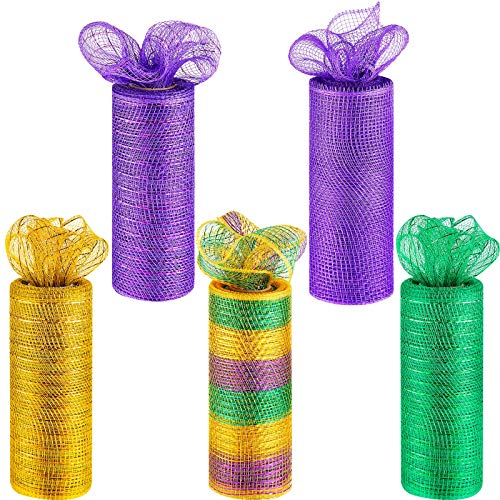 5 Rolls Easter Deco Poly Ribbon Poly Mesh Ribbon Metallic Poly Ribbon for Festival Wreath Party Dress Crafts Making (Purple, Green, Yellow, Rainbow,6 Inch x 5 Yard)
