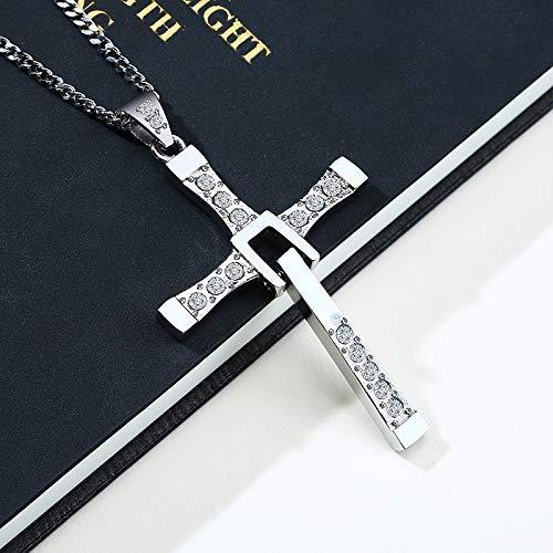 SEKDAQ Película Cruz Collares Colgantes Acero Inoxidable Cristiano Católico Hombres Collar | Collar Cruzado