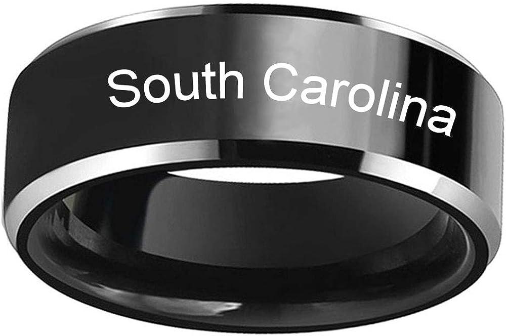 FlyStarJewelry 50 U.S. States Black Titanium Steel Ring for Men Women Laser Engraved for Couple Wedding Engagement Promise Rings Band