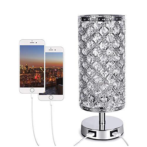 Wowlela Lámpara de mesa de noche de cristal con control táctil, moderna pantalla plateada con purpurina y doble puerto USB, lámpara táctil regulable de 3 vías para dormitorios, sala de estar
