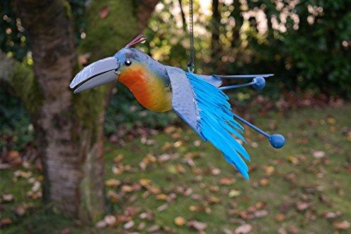 Gerry vogel met veren om op te hangen met springveer vogel metaal decoratie boomdecoratie gelakt 20 cm blauw
