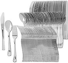 أدوات مائدة بلاستيكية فضية   مجموعة أدوات مائدة للاستعمال مرة واحدة شديدة التحمل وصلبة   مثالية لحفلات الزفاف والبوفيهات و...