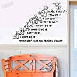 Pegatinas de pared motivacionales Recepción de la sala de estar familiar ¿Qué pasos tomaste hoy? Pegatinas de vinilo para pared de oficina