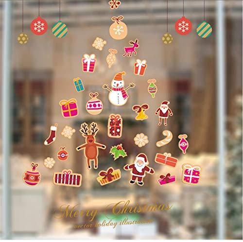 Zwyluck Knutselen kerstdecoratie boom bel sneeuwman Santa sneeuwvlok muur sticker wandlamp boutique vitrine koelkast decoratie 67 x 80 cm
