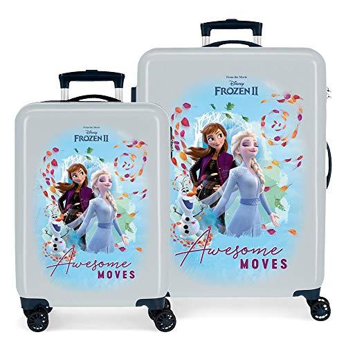 Disney Frozen Die Eiskönigin Awesome Moves Kofferset Blau 55/68 cms Hartschalen ABS Kombinationsschloss 104L 4 Doppelräder Handgepäck