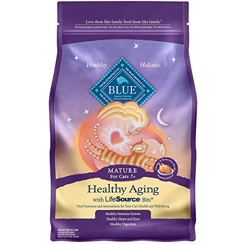 Blue Buffalo Blue Healthy Aging Mature Chicken & Brown Rice Recipe Dry Cat Food, 3 lbs.