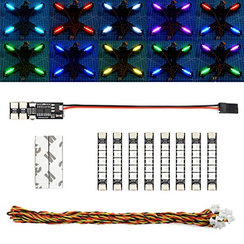 elechawk Super Bright RGB LED Lights for FPV Drone Quadcopter Hexacopter Octocopter WS2812B (8LED+Controller)