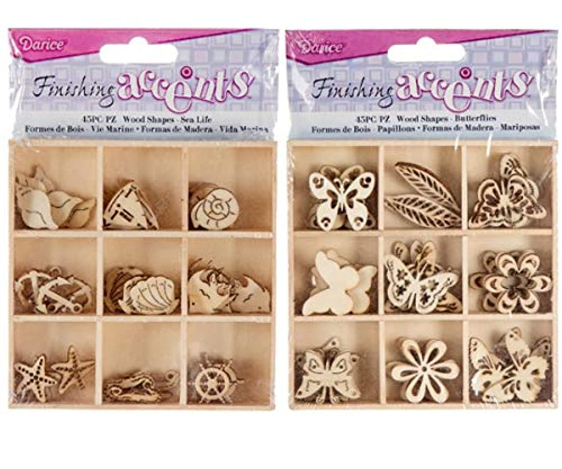 Finishing Accents Scrapbooking Card Making Embellishments Bundle: Sea Life and Butterflies Theme Mini Laser Cuts Wood Shapes, 45 in Each Open Top Box (90 Items)
