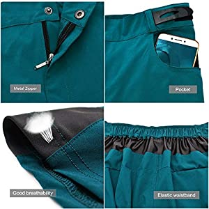 WOSAWE Pantalones Cortos de Ciclismo, Hombres Pantalones Sueltos Transpirables + Gel 3D Acolchada MTB Ropa Interior (BL432 Navy M)