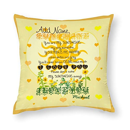 Polyester Cotton Home Decorative Pillow Covers Custom You Are My Sunshine Throw Pillow Case Cushion Cover Home Decor,Square 20X20 Inches