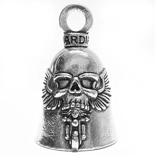 Guardian Bell GBGHST Ghost Rider Skull on Motorcycle Biker Luck Gremlin Riding Bell or Key Ring, Silver, 1.5 Inch