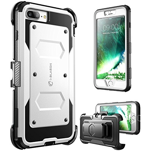 i-Blason iPhone 7 Plus Hülle, iPhone 8 Plus Hülle Armorbox Outdoor Case Handyhülle mit eingebautem Displayschutz und Gürtelclip, Weiß
