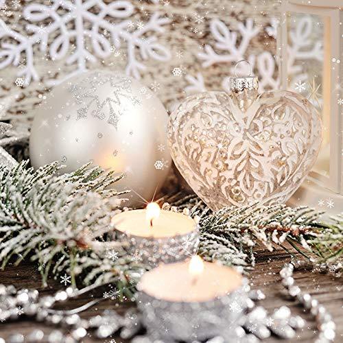 20 Servietten Anhänger und Teelichte/Kugeln/Kerzen/Winter/Weihnachten 33x33cm
