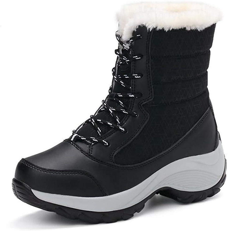 Fay Waters Women's Flock Mid-Calf Autumn Winter Keep Warm Plus Hiking Platform Snow Boot