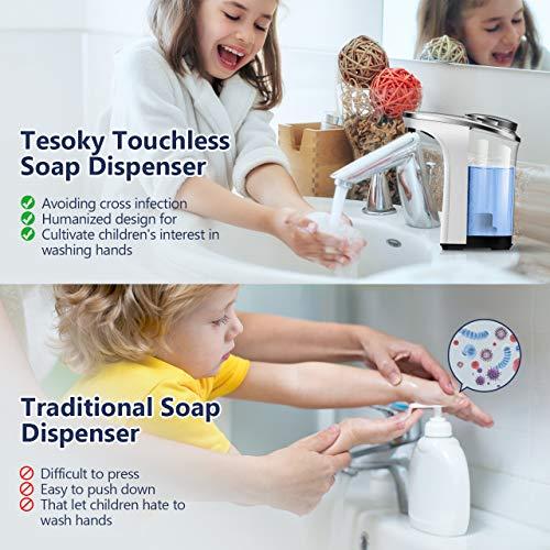 Tesoky Dispenser Sapone Automatico 500ml/17oz, Dispenser Gel Disinfettante Mani Impermeabile con 5 Regolabile Volume e Sensore di Infrarossi per Bagno, Cucina, Hotel, Ristorante