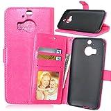 Funda HTC One M9 Plus M9+,Bookstyle 3 Card Slot PU Cuero Cartera para TPU Silicone Case Cover-Rosa Rojo