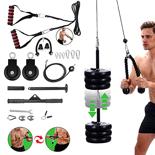 TOMCHY 3 in 1 Pulley System Gym, LAT Pull Down and Lift Pulley System, Pulley Cable Machine System with 2 Cables, Straight Bar, Tricep LAT Fitness Machine Attachments Home Gym Equipment for Exercise